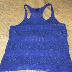 4/$10 ITEM Express Blue & Shimmer Sweater Tank Top